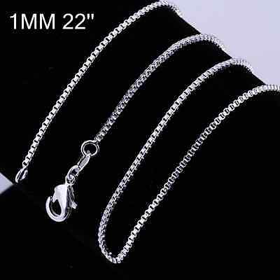 Stunning 925 Sterling Silver 1MM Classic CUBE BOX Necklace Chain Wholesale Price