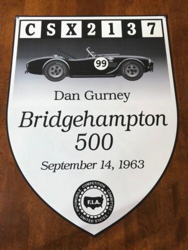 "1963 Bridgehampton Race Banner 22/"" x 30/"" Shelby Cobra  Dan Gurney"