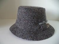 Hanna Walking Hat Black Gray Speckled Tweed Irish Donegal