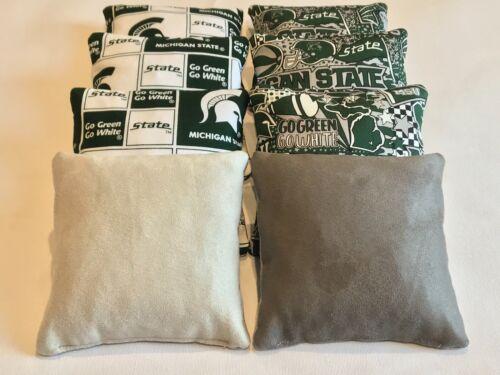 MICHIGAN STATE SPARTANS CORNHOLE BAGS 8 STICK n SLICK CORN HOLE ALL WEATHER