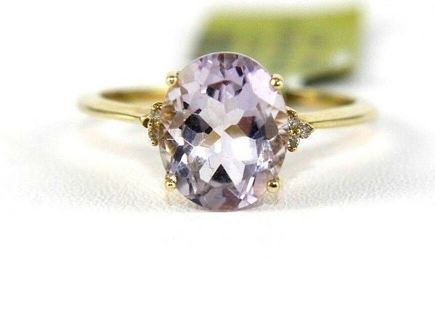 Oval Purple Amethyst & Diamond Solitaire Ring 14k pink gold 2.16Ct