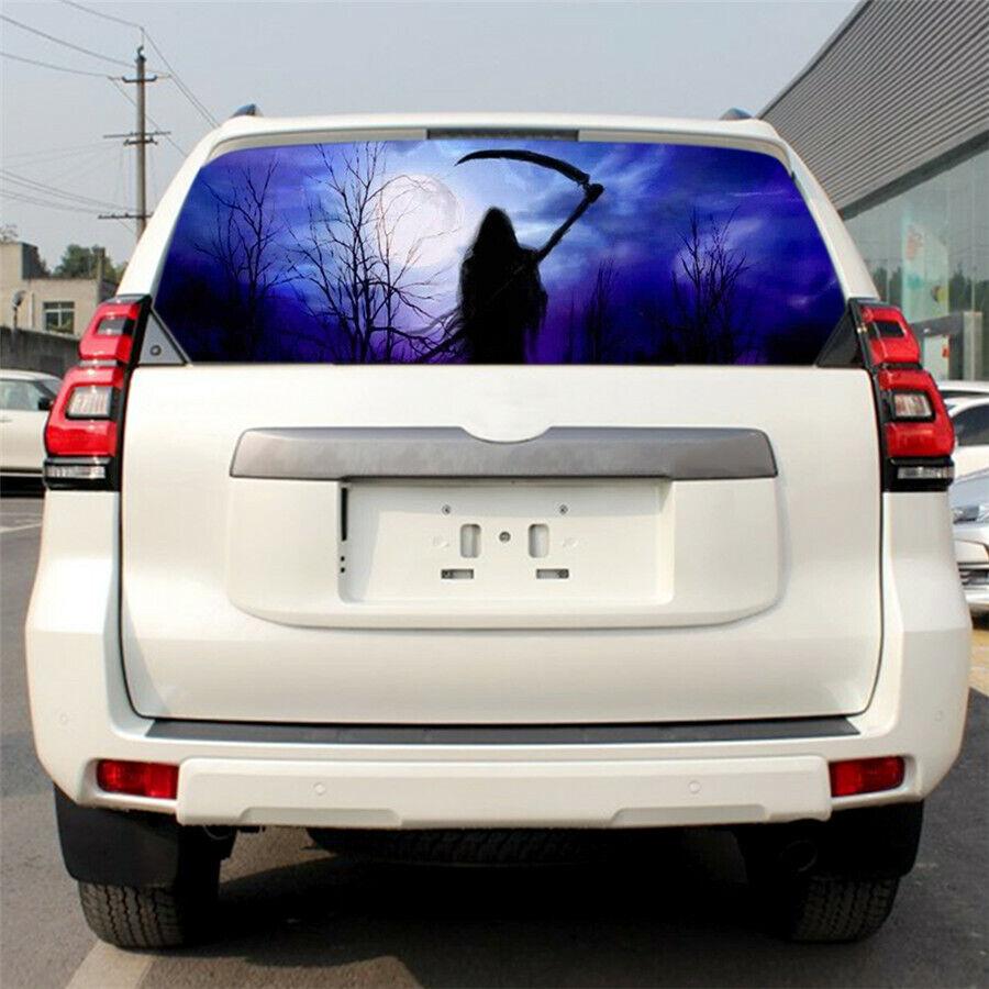 135x36cm Car Truck Rear Window Horror Grim Reaper Scythe Forest Graphics Sticker