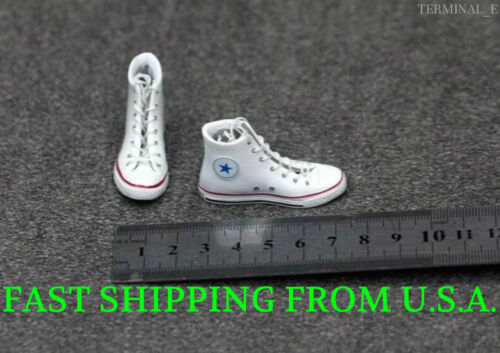 1//6 Converse All Star Sneakers Shoes WHITE For Hot Toys Phicen Female Figure
