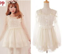 Cute Princess Dolly Sweet Lolita Kawaii Party Wedding onepiece Dress White S~L