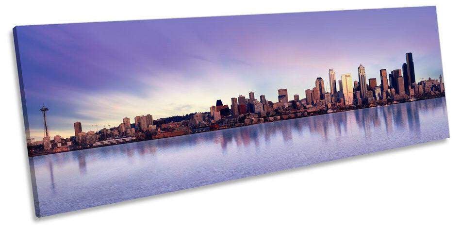 Seattle CITY SUNSET art. a muro Skyline Panorama incorniciato stampa