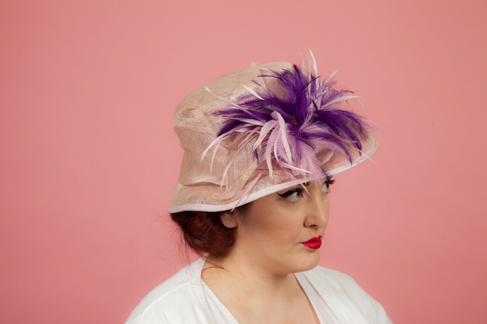 Pink/Purple feathered formal hat by Pamela Bromley