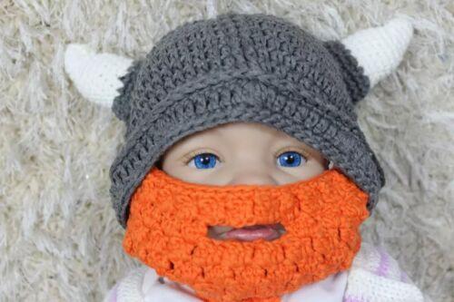 Handmade Vikings Hat Full Beard Hat Knit Crochet Hat Newborn Baby Hat Child Hat