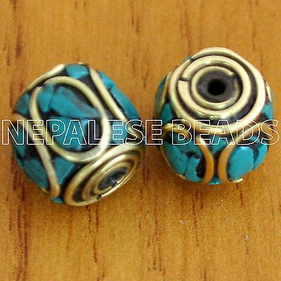 UB1435 Nepalese Artisan Handmade Brass Turquoise 2 Beads from Nepal by Eksha