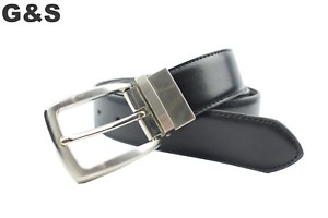 """NUOVA Cintura in Pelle da Uomo Morbido Reversibile Nero//Marrone 26/"""" 44/"""" Pantaloni Jeans Smart"""