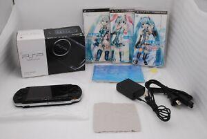 N-Mint-Sony-PSP-3000-Console-PIANO-BLACK-w-Box-amp-Project-Diva-3pcs-Set-Japan