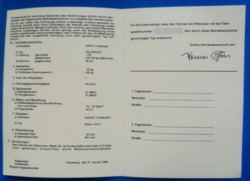 1  ABe Velo Solex Velosolex Betriebserlaubnis 1700 MOFA PAPIERE  PREIS RABATT