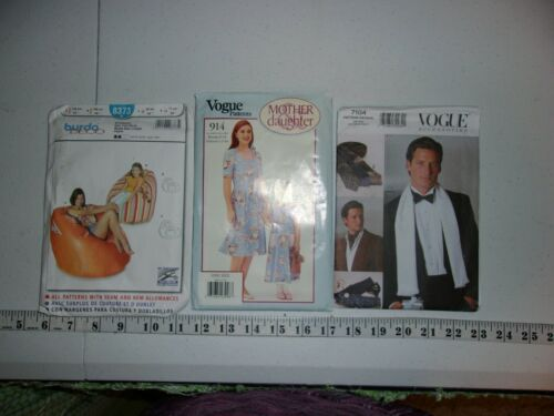 Burda and Vogue Sewing Patterns Assorted Sizes Bean Bag Chair Mens Ties Etc...