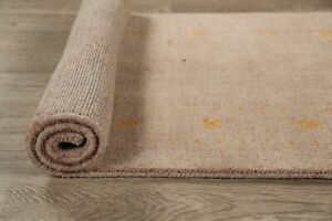 Bordered Khaki Color Contemporary Gabbeh Oriental area Rug Hand-Knotted Wool 3x6