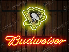 "New Budweiser Pittsburgh Penguins Beer Neon Sign 19""x15"" Ship From USA"