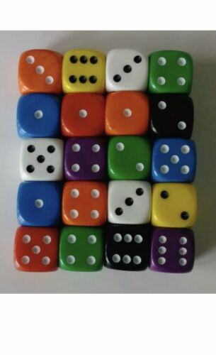 size 16mm Wargaming Game Dice 20 of Opaque Six Sided Spot Dice D6 RPG
