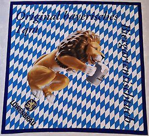 GERMANY-VINTAGE LOWENBRAU BIER LOGO SOUVENIR BLUE BROWN COTTON SQUARE TABLECLOTH