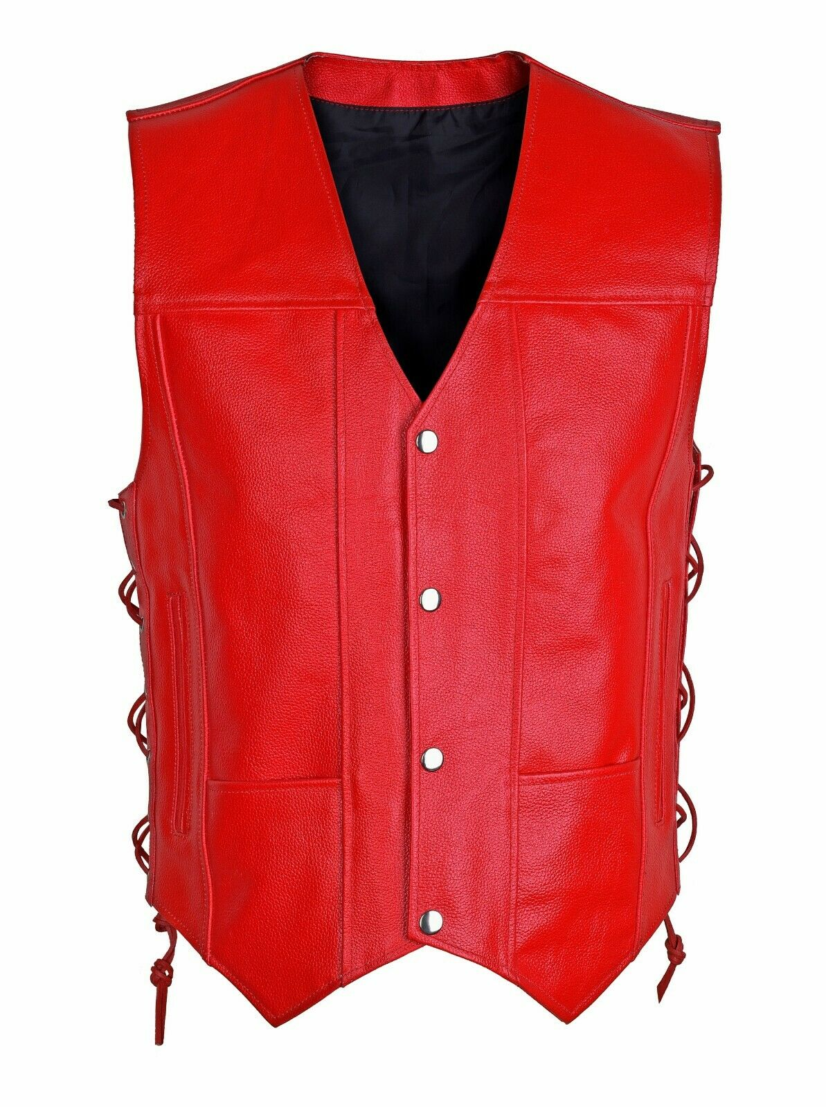 LADIES REAL LEATHER LACED UP MOTORCYCLE Biker WAISTCOAT WOMENS