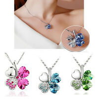 Style Women Lady Girl Clover Crystal Pendant Chain Necklace Lucky Leaves Gifts