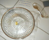 Silverplate & Crystal 9 Relish Dish Heavyweight W/ Forks Leonard Italy