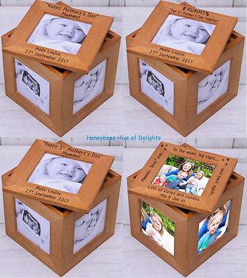 Personalizado De Madera Roble múltiples Caja Cubo Marco Foto Idea de Regalo Para Día De Las Madres