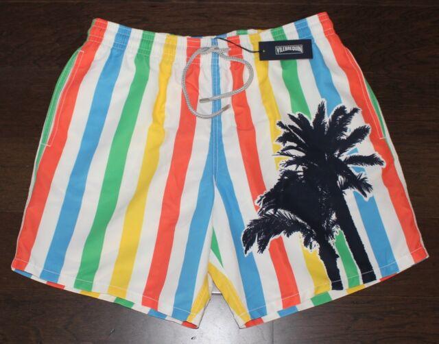 2092de45f5 Brand New VILEBREQUIN Swimsuit Trunks Men's 2XL XXL Striped Palm Tree Shorts  NWT