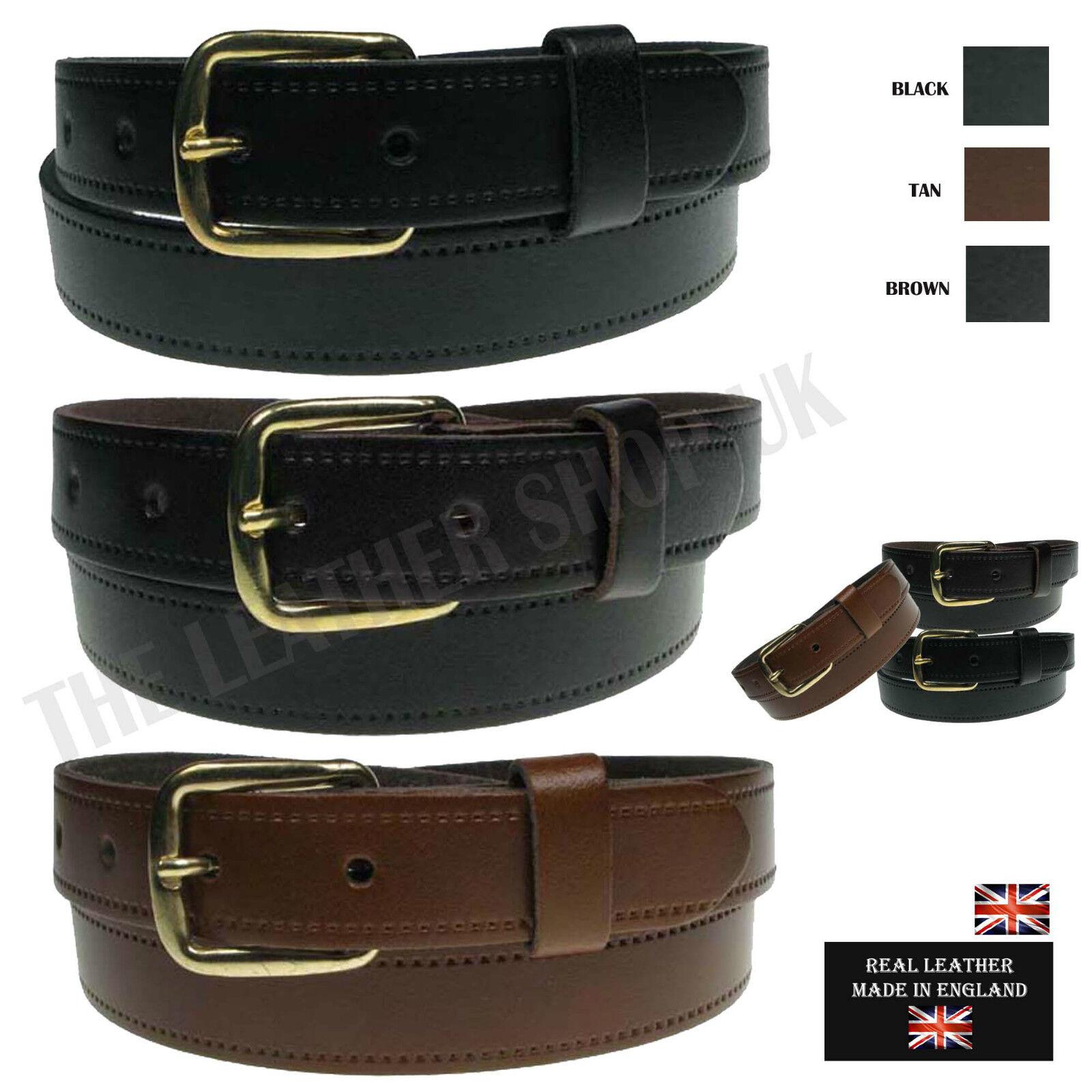 25MM Cinturón de Hombre de Cuero Real Hecho en Inglaterra Informales Jeans Pantalones Desgaste