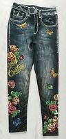 Bejeweled Leggings Jeggings Susan Fixel Butterfly Roses Thick 009m Size Xs