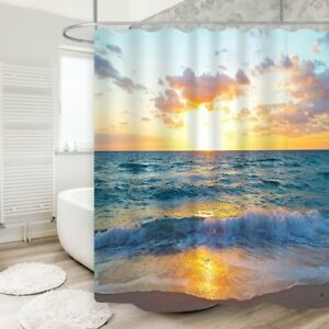 Image Is Loading Beach Shower Curtain Sunrise At Wave In