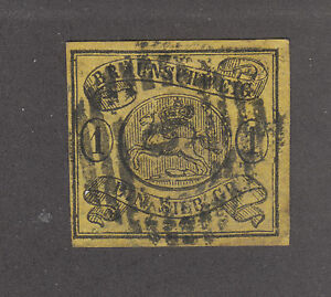 Ouvert D'Esprit Brunswick Sc 8 Utilisée. 1861 1sgr Noir Sur Jaune Sautant Saxon Cheval, F-très Fine-afficher Le Titre D'origine