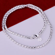 925Sterling Silver Jewelry Noble Round Grid Men Necklace 4MM 20inch N189
