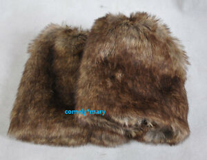 new-Grey-Wolf-faux-fur-funky-leg-warmers-boots-cover-club-dance-shoes-19cm