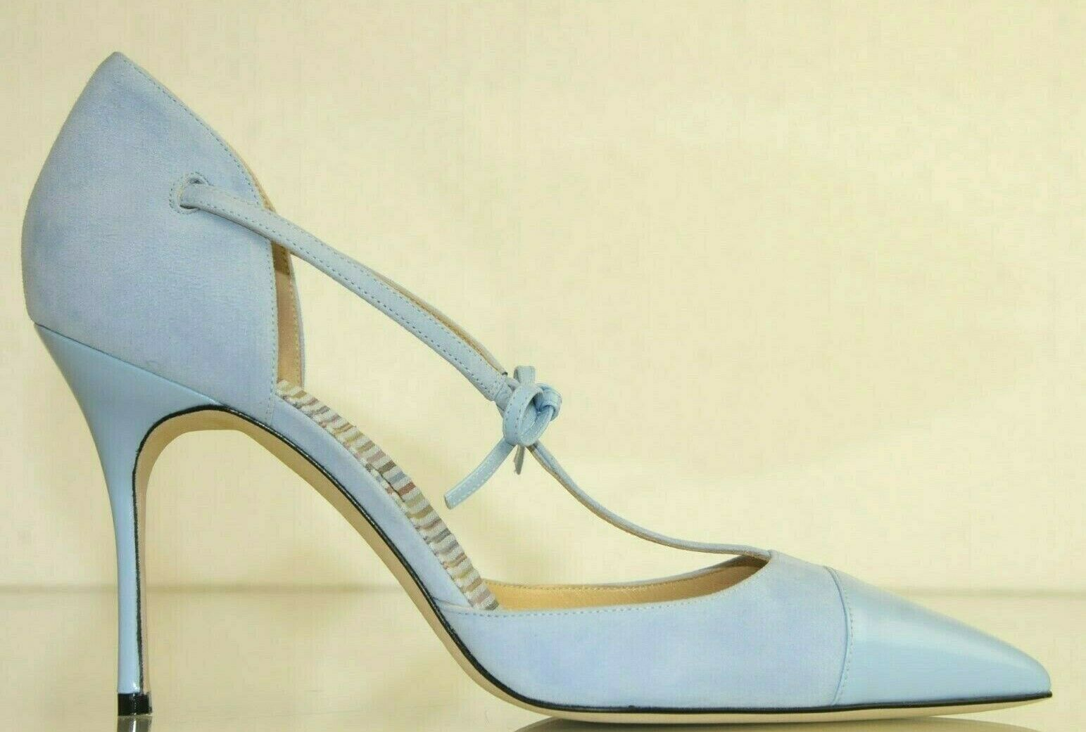 865 New Manolo Blahnik PARIGATAMA bluee Suede Leather BB Ankle Strap shoes 41