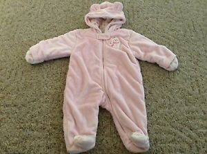 52c12171a Baby girl Carter's winter suit size 6 months lined warm pajamas pink ...