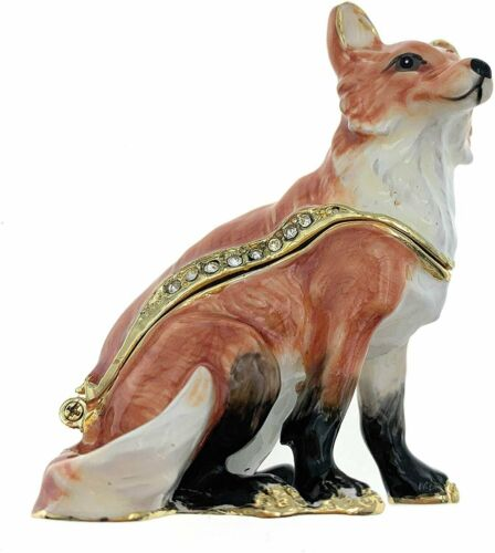 Kubla Crafts Enameled Red Fox Trinket Box Accented with Austrian Crystals 2...