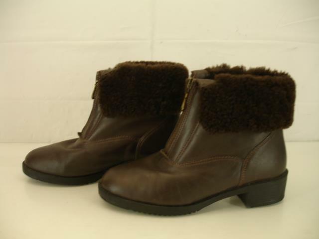 Womens 6.5 M Boston Accent Brown Waterproof Sheepskin Shearling Fur Boots Ankle
