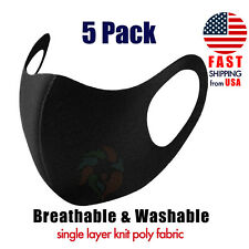 [5 Pack] Black Face Mask Breathable Washable 1 Layer Cloth Fabric Mouth Cover