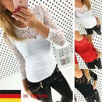 De Damen Spitze Bodycon Sommer Party T-shirt Oberteil Blusen Tops Langarmshirt
