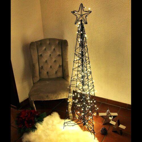 Weihnachtsbaum modern 150 cm als Pyramide Metall mit Stern 260 LED warmweiß