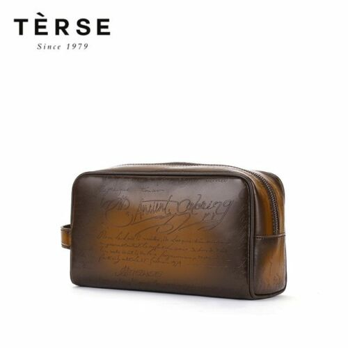 TERSE Men/'s Handmade Patina Genuine Cow Leather Tobacco Wallet Carving Zipper