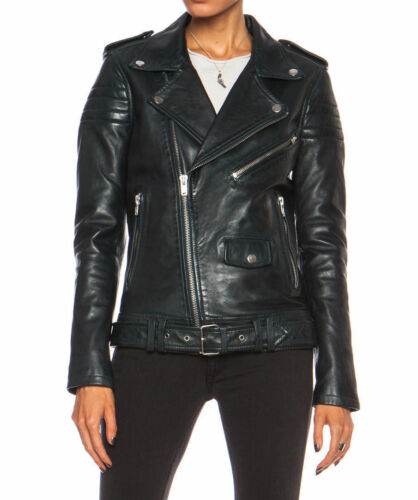 Genuine Fit Motorcycle Biker Designer Leather Jacket Lambskin Slim Women's OxqwapPfq