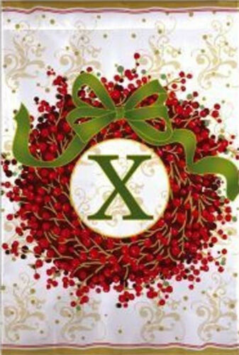 "Holiday Monogram Wreath X Garden Flag Christmas Berries Embroidered 12.5/"" x 18/"""