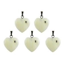 5 x MOTHER OF PEARL Shell Gemstone Craft HEART Pendants 18mm
