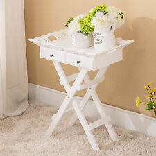 Shabby Cottage Portable Folding Stand Tray Table White Elegant w/Drawers Wood