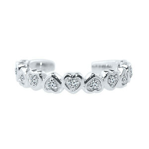 .08 cttw white cz Round Cut Pure 925 Sterling Silver Heart Shaped Toe Ring