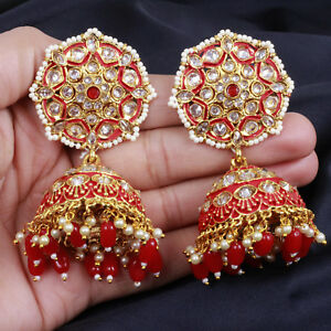 Gold Plated Red Pearl Jhumki Earring