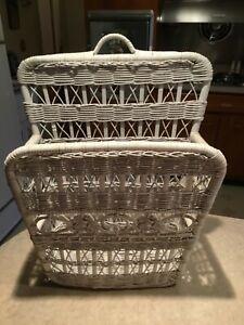Details About Vintage Retro White Wicker Magazine Basket Holder Floor Or Wall Mount
