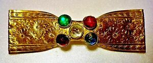 Art Nouveau Antique Floral Pinchbeck Pin; Aged-Smooth, Foil-Backed Paste Stones
