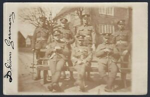 WW1-BRITISH-CORP-IN-GERMANY-OFFICERS-RPPC-ANTIQUE-PHOTO-POSTCARD