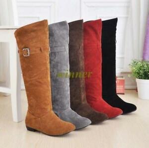 Plus-Size-Women-sweet-Velvet-knee-high-boots-flats-Warm-pull-on-slouch-shoes-sz