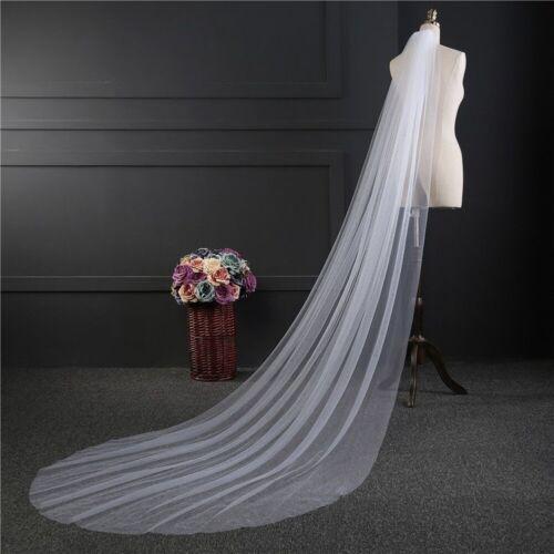 Long Wedding Bride Veil One-layer Elegant Bridal Accessories 3m 2m White Ivory